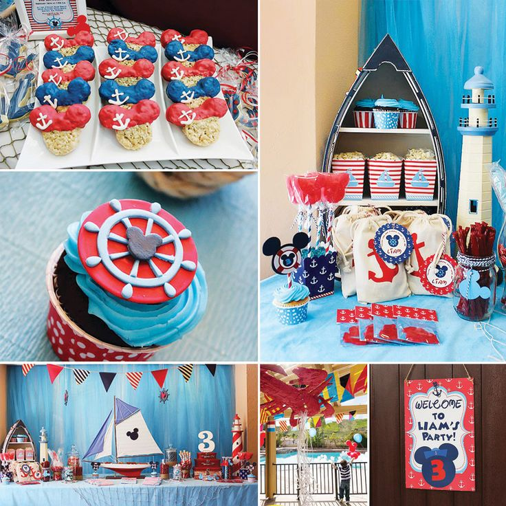 Nautical Mickey Mouse Birthday Party by Michelle's Party Plan-It!  fun way to announce a disney cruise?