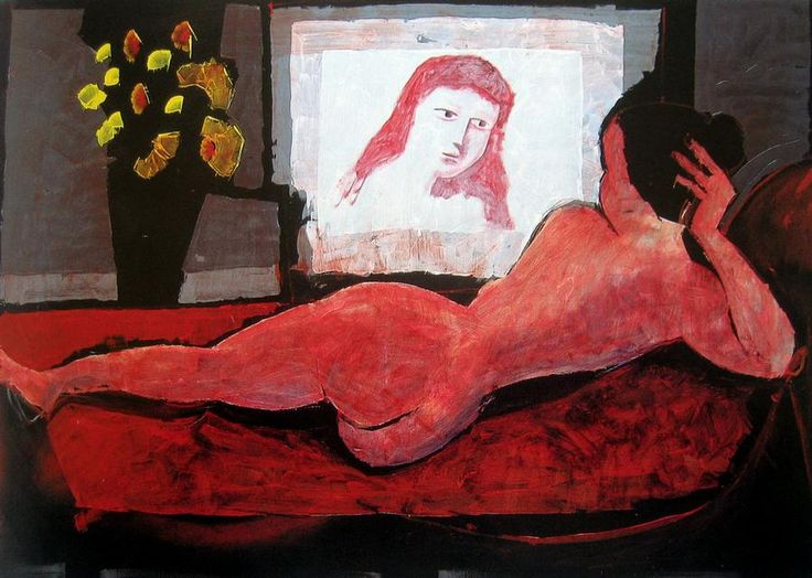 Nude and her Reflection, Charles Blackman. Australian, born in 1928.