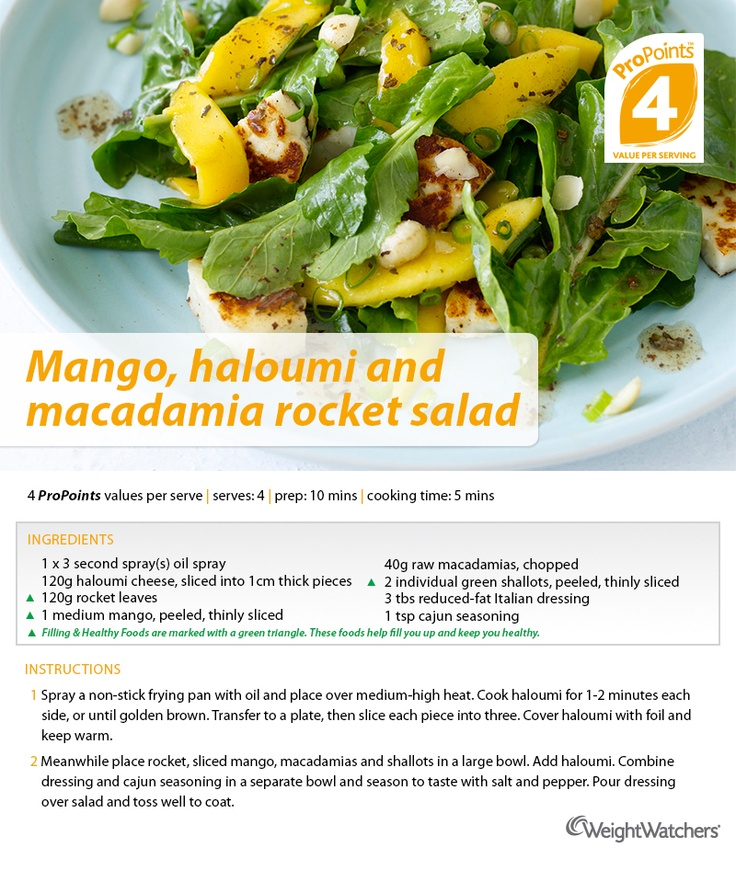Mango, haloumi and macadamia rocket salad.