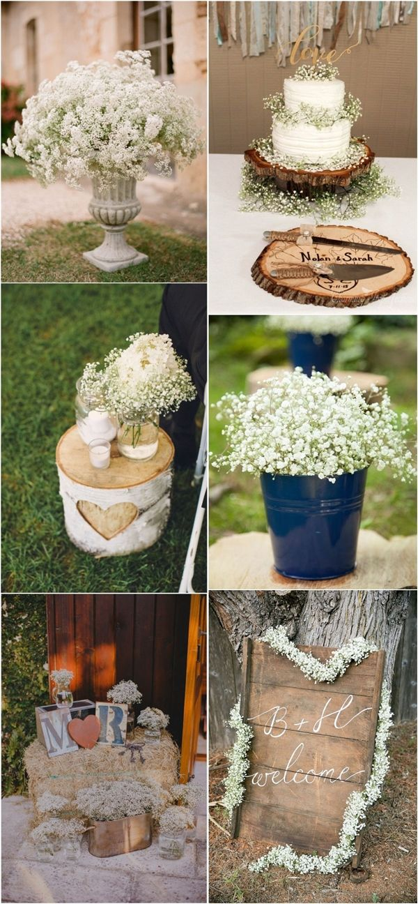 rustic baby breath wedding decor ideas / http://www.deerpearlflowers.com/rustic-budget-friendly-gypsophila-babys-breath-wedding-ideas/
