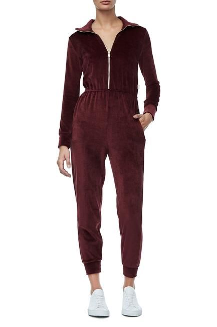 Good American -THE VELOUR JUMPSUIT | BURGUNDY001 (Low Stock)