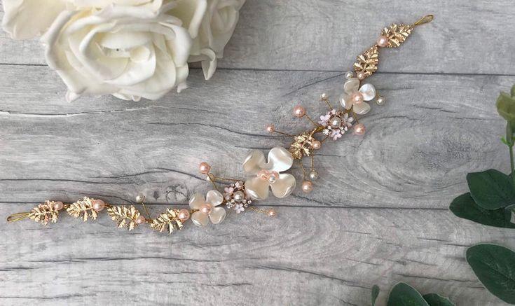 Handmade pearl crystal bridal hair piece / hair vine. Wedding hair accessory. Blush Rose gold theme/ white and blush pink pearls. Floral