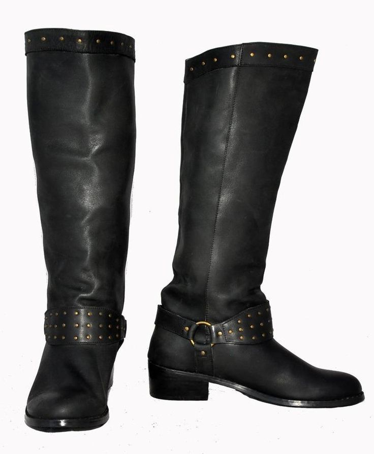 Puzzle Black Genuine Leather Western Style Knee Boots For Women Size 37