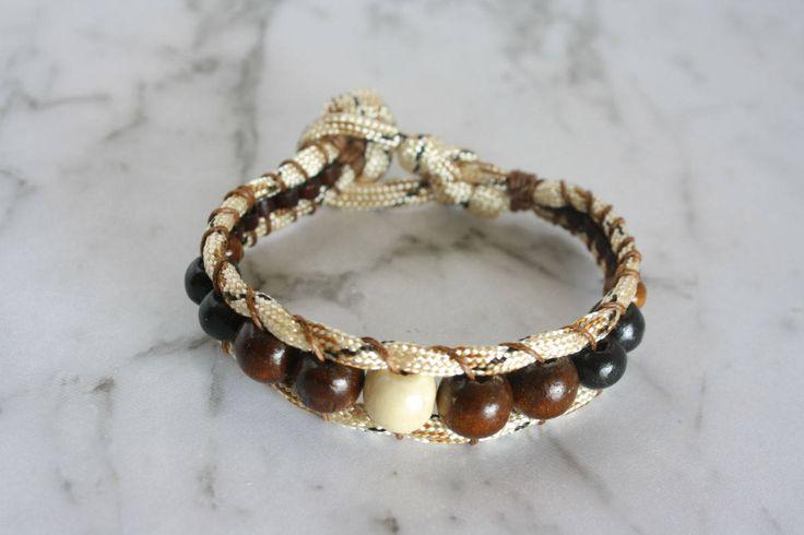Paracord Bracelet, Unisex Paracord Bracelet, Beaded Paracord Bracelet, Woven & Braided Bracelet, Eco Friendly Jewelry, Wooden beads bracelet by LeatherTrove on Etsy
