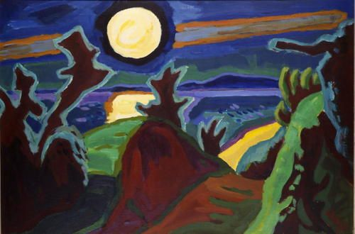 Karl Schmidt-Rottluff, Mond über der Küste, 1956