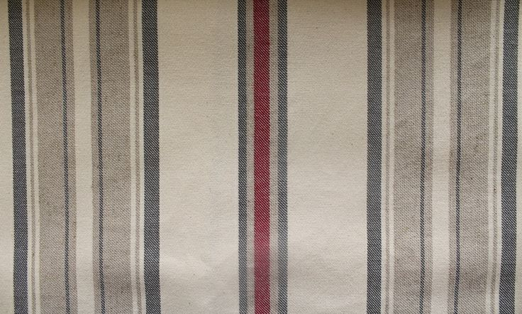 Benjamin Stripe - Red/Charcoal/Natural (this fabric is railroaded)