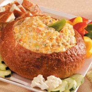 Hot seafood dip recipe. I leave out the dill and use real crab and sometimes do all crab.  can be done without bread bowl.