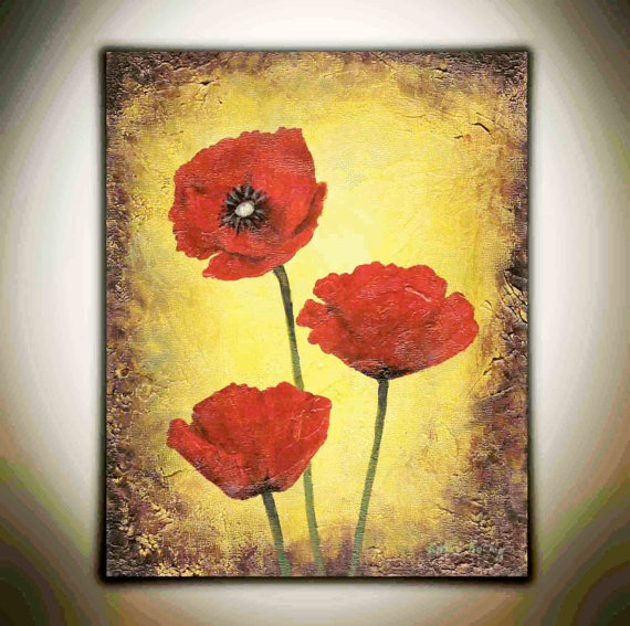 Fine Red Poppies Canvas Wall Art Component - Wall Art Design ...