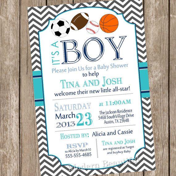 All-Star Baby Shower Theme | Chevron All star It's a boy baby shower invitation, football, soccer ...