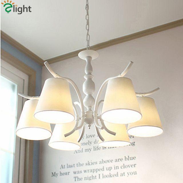 Современный простой металл E14 светодиодные люстры блеск белый/черный ткань столовой LED подвесные люстры светодиодные светильники