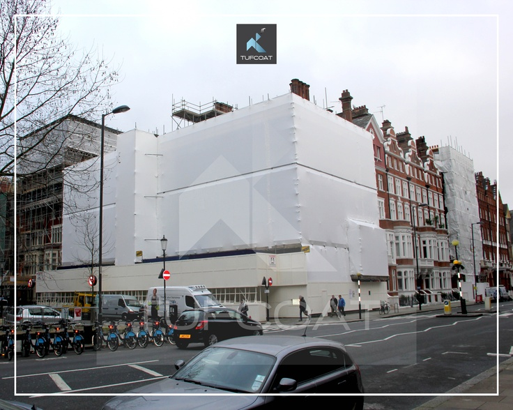 Scaffold shrink wrap installed on a project in Pont Street London