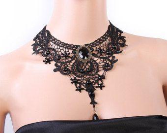 Collana girocollo in pizzo nero elegante girocollo gotico