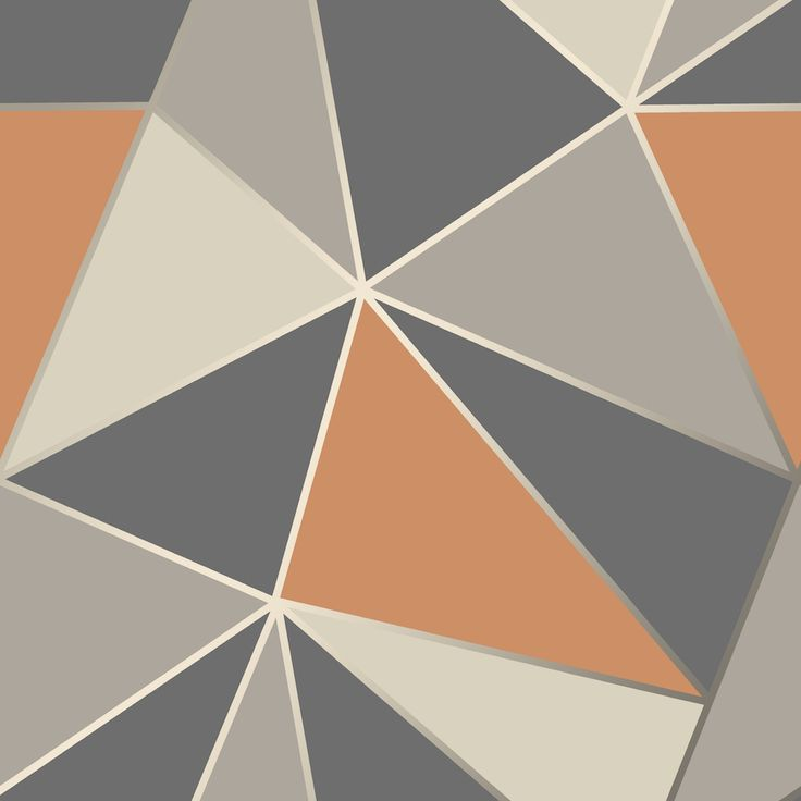 A large scale geometric design in burnt orange and grey with a silver metallic outline.