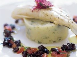 Who will you impress with this Grilled Halibut on Celeriac Puree with a Tomato, California Prune and Basil concasse?