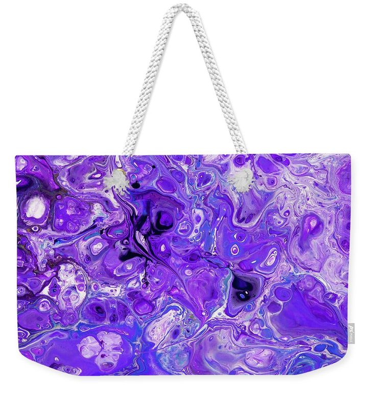 "Sacred Purple Flows. Abstract Fluid Acrylic Pour Weekender Tote Bag (24"" x 16"") by Jenny Rainbow.  The tote bag includes cotton rope handle for easy carrying on your shoulder.  All totes are available for worldwide shipping and include a money-back guarantee."
