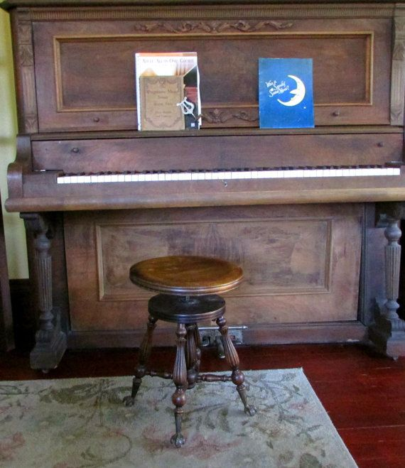 Antique Piano Stool Ball And Claw Feet Turned Wood Legs