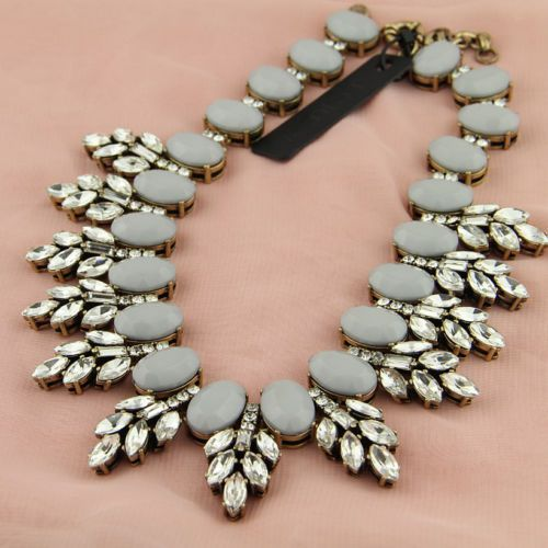 New Gray J.Crew Crystal leaves statement necklace Inspired freeshipping