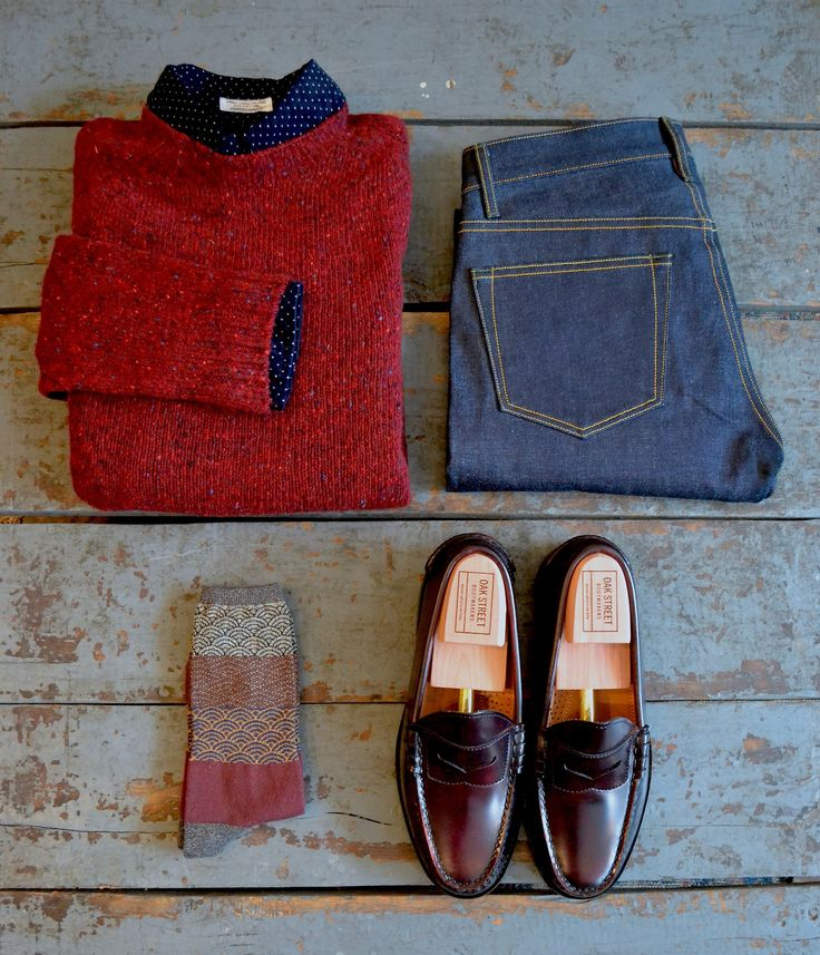 Howlin Terry Knit Sweater Engineered Garments 19th Century Shirt Imogene and Willie Barton Kapital Socks Oak Street Bootmakers Oxblood Beefroll