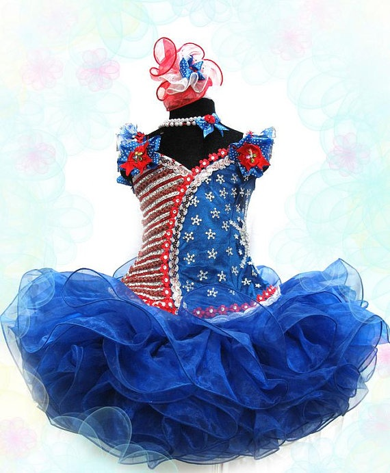 i would so do this in dark purple and brown!!!    Blue glitz pageant cupcake dress  Made to Order  by PageantCouture, $220.00