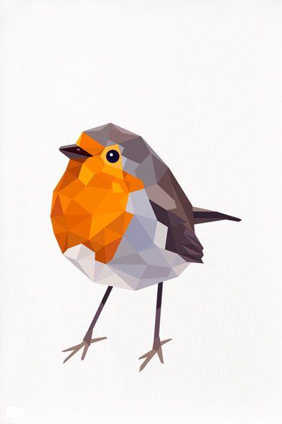 Robin Geometric illustration Red Robin 3 Animal door tinykiwiprints