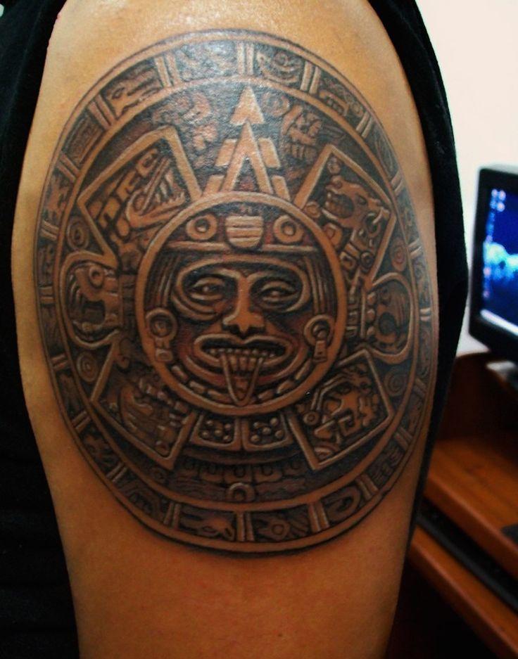 Nice Aztec Calendar Tattoo On Shoulder
