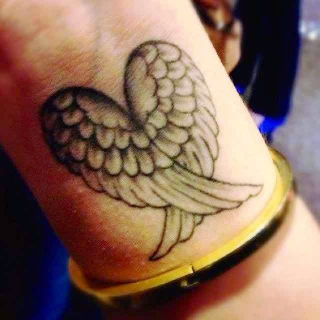 Heart With Angel & Wings Tattoo On Wrist