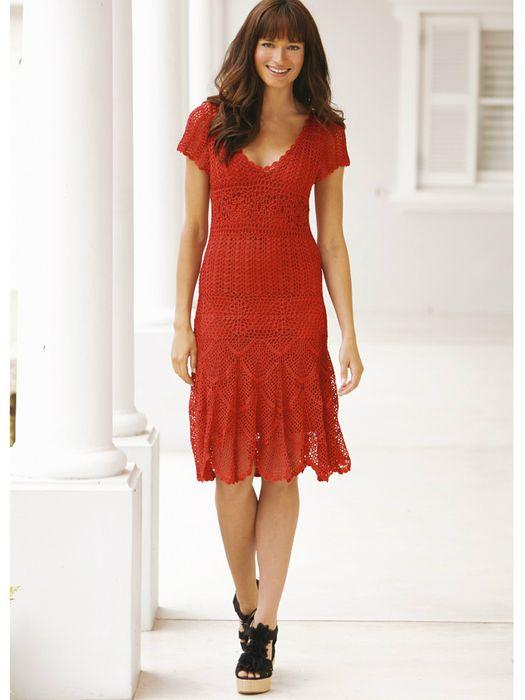 Bohemian Red Dress free crochet graph pattern
