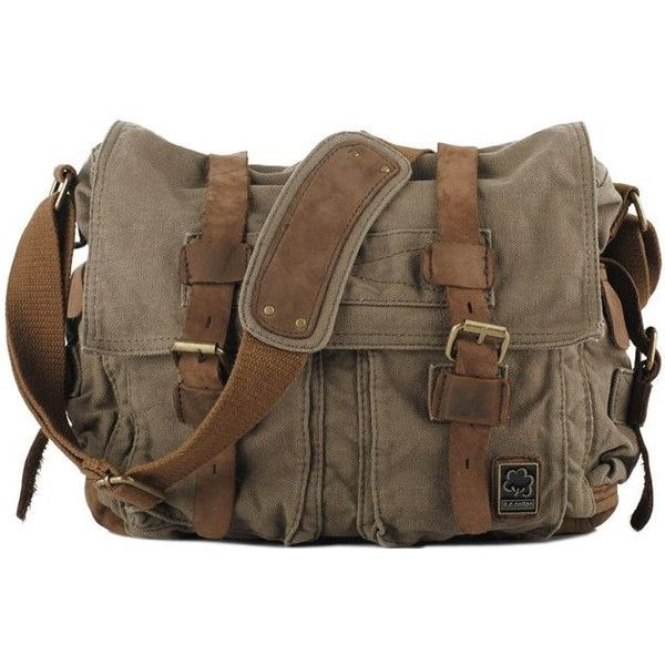 Military Messenger Bag ❤ liked on Polyvore