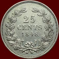 Nederland - 25 cent 1848 (met punt) Willem II - zilver