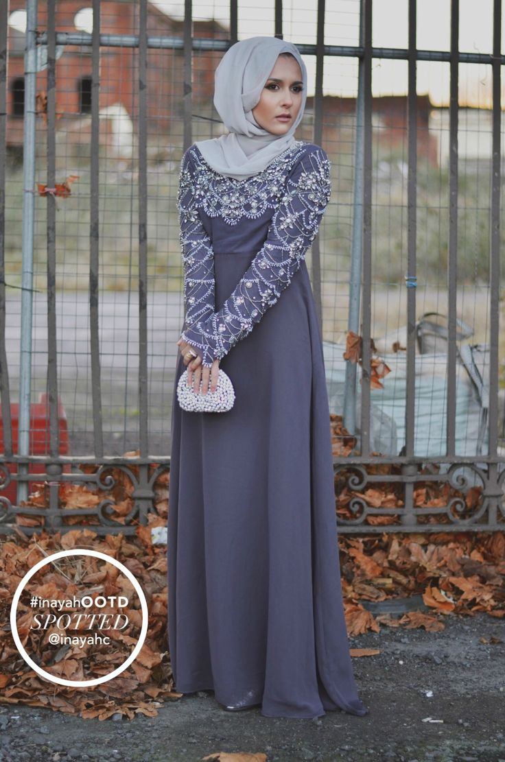 SPOTTED : Dina Tokio wearing the Zareen Evening #Gown & Feather Grey Georgette #Hijab www.inayahcollection.com