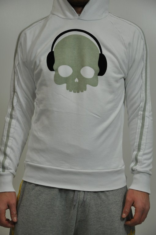 Felpa Hydrogen bianca con cappuccio, stampa frontale in grigio e nero, bande sulle maniche in grigio