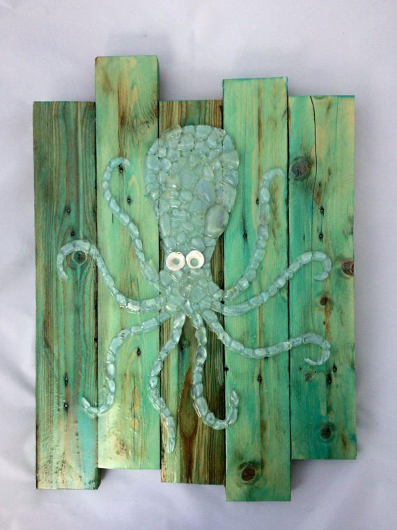 Pulpo de cristal vidrio arte mar con Puka Shell ojos por MareaBaja