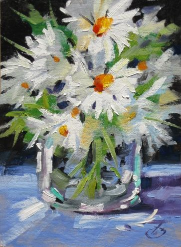 DAISEYS, TOM BROWN ORIGINAL OIL PAINTING, SUMMER STUDIO SALE CONTINUES, painting by artist Tom Brown