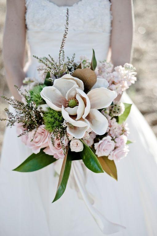 Magnolia Flower Bouquet, #wedding // flowers: twigg botanicals, photo: schnack studios, dress: priscilla boston