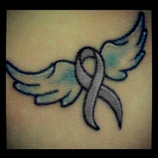 Lavender Ribbon for general cancer (my family). Possibly add a halo and different wings.