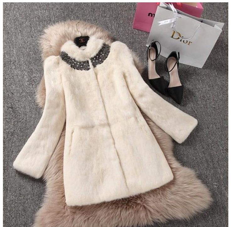 New genuine real natural full pelt rabbit fur coat with diamon women fashion whole skin fur outwear ladies jacket