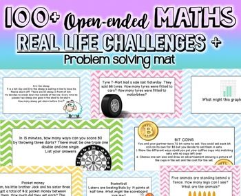 100+ Math Open Ended Real Life Problem Solving cards NO PREP! less than 5c!