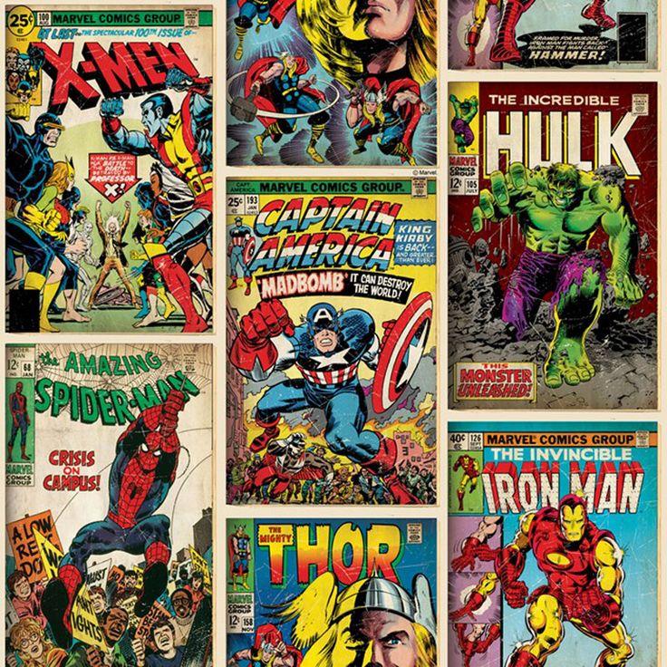 Tapetsera med ikoniska actionhjältar från Marvel! Captain America, Spiderman, Thor, Iron Man och X-Men finns numera inte bara på film och i serietidningar