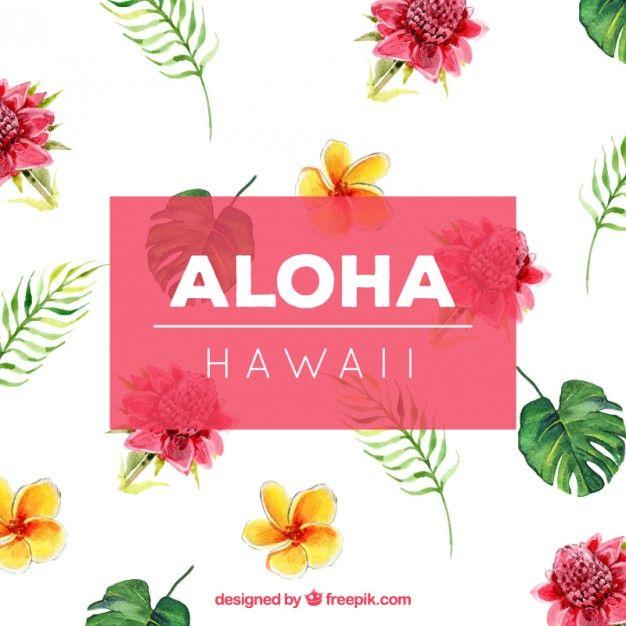水彩ハワイアン花の背景