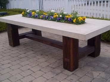 140 Year Old Aged Antique Barn Timber Base Dining Table With Cast Stone Top  And With