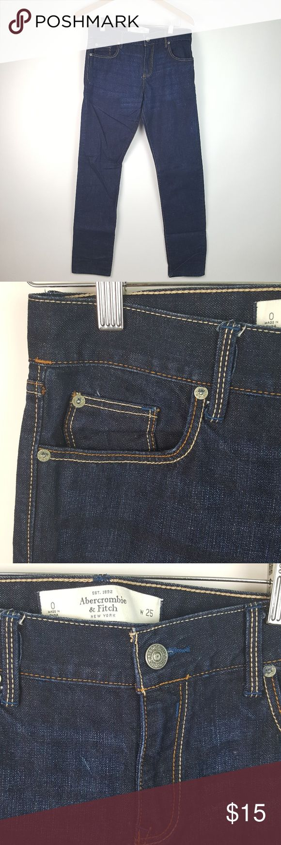 """Abercrombie & Fitch Dark Wash Jeans Sz O AR1 Abercrombie & Fitch Womens Dark Wash Jeans Size 0 25"""" Waist  EUC....NO stains, holes, rips, pilling or fading.  Waist: 15"""" Rise: 9.5"""" Hips: 18 Inseam: 31"""" *measurements are taken laying flat and are APPROXIMATE*  ALL ITEMS FROM A SMOKE FREE HOME Abercrombie & Fitch Jeans Straight Leg"""