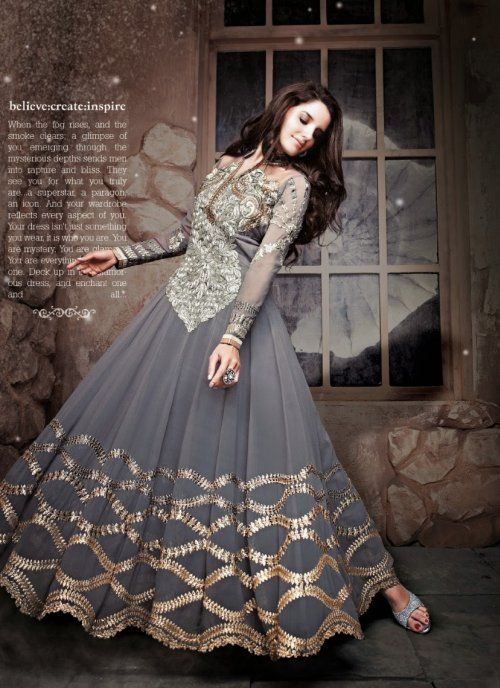 Ethnic Gray Long Anarkali Suit