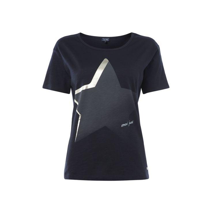 Armani Jeans T-Shirt aus Baumwolle mit Stern-Print für Damen - Damen T-Shirt von Armani Jeans, Reine Baumwolle, Taillierter Schnitt, Weiter Rundhalsausschnitt, Seitenschlitze, Meliert, Stern- und Logo-Print, Kleine Logo-Applikation, Made in Europe, Rückenlänge bei Größe 40: 60 cm