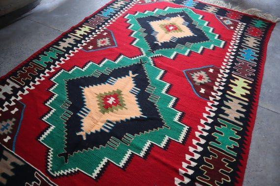 4.3 x 6.5 FT Beautiful Turkish Double Medallion Turkish Flat Weave Kilim Rug,Vintage Turkish Green w