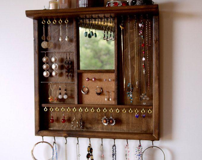 Pendientes de joyería organizador pantalla con espejo. sostenedor del collar. NUEZ de la mancha display con el estante. almacenamiento de joyería de montaje de pared. sostenedor del pendiente