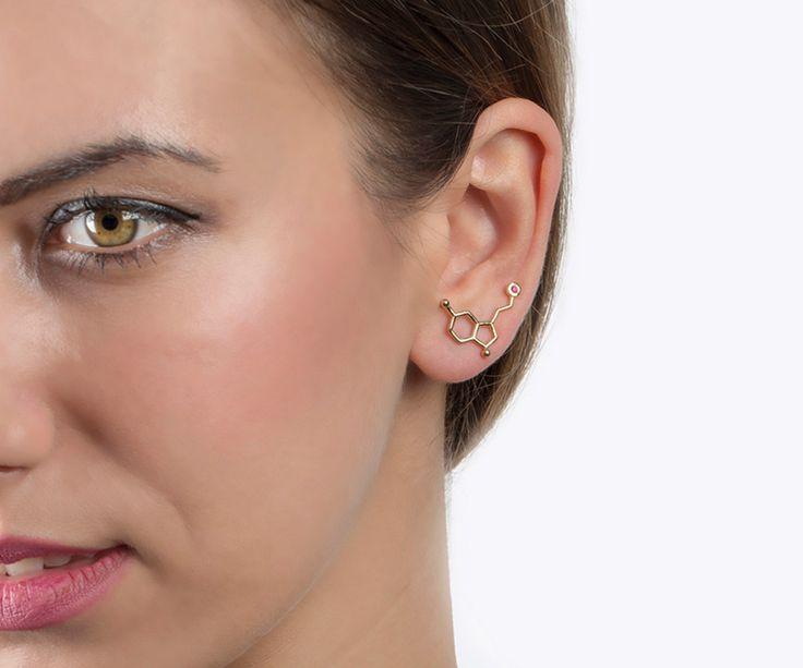 Serotonin earrings, YELLOW GOLD, ear climber, ear cuffs, molecule jewelry, birthday stone, ruby earring golden, July birthstone, ear crawler by largentolab on Etsy