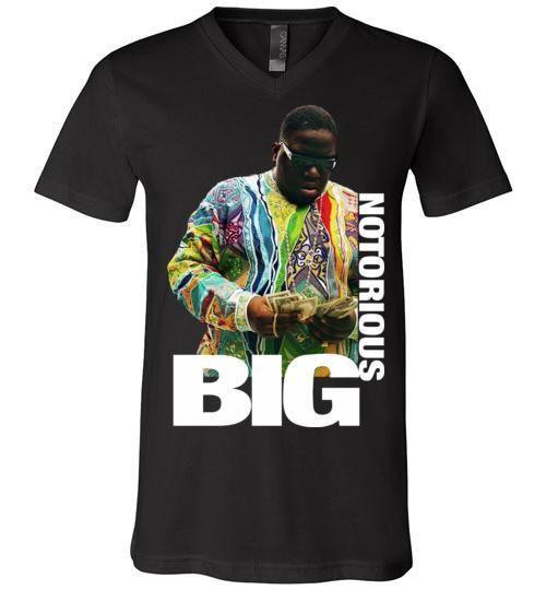 Notorious BIG Biggie Smalls Big Poppa Frank White Christopher Wallace,Bad Boy Records, Hip Hop New York Brooklyn,v8b, Canvas Unisex V-Neck T-Shirt