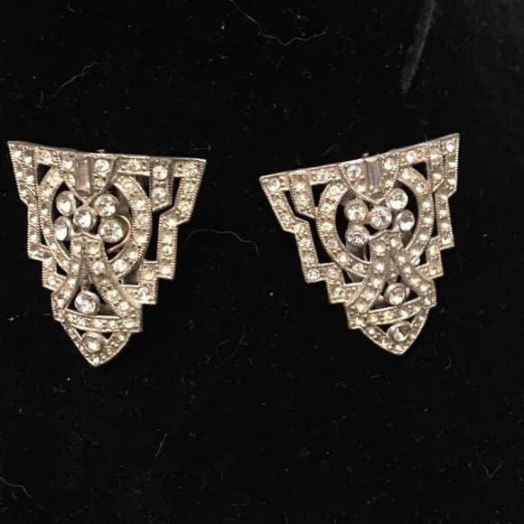 """Fabulous vintage dress clips- convert to brooch 1920s Art Deco style. Comes with converter. Only mark is a patent number. Finest example I have seen! Each clip is 1 1/2"""" long and 1 1/2"""" wide, so brooch is 3"""" long, 1 1/2"""" wide Jewelry Brooches"""