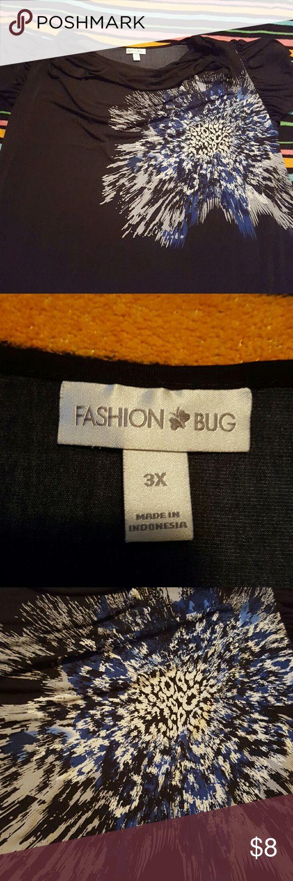 Black blue and white blouse Short sleeve black blue and white blouse Fashion Bug Tops Blouses