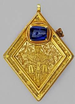 Unearthed in 1985 near Middleham Castle, the Neville family's northern seat, this lozenge-shaped jewel may have contained a relic to be used as a devotional object during pregnancy (saints associated with prayers for a safe delivery and the Nativity scene feature on the obverse) http://en.wikipedia.org/wiki/Lozenge_%28heraldry%29